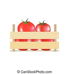 Tomatoes in wooden crate. Vector illustration crate,  wooden,  background,  box,  container,