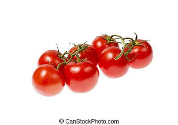 Tomatoes isolated on white background - panicle of fresh...