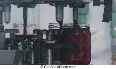 Tomatoes Ketchup production manufacturing in glass jars - ...