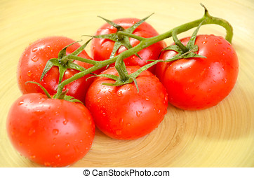 tomatoes on a wooden platter 0842