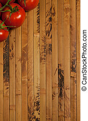 Tomatoes on a wooden surface