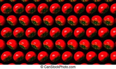 Tomatoes on black background. Loop able 3DCG render...