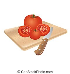 tomatoes on cutting board, vector illustration