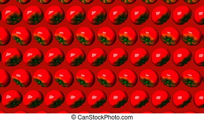 Tomatoes on red background