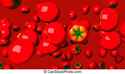 Tomatoes on red background. Loop able 3DCG render animation....