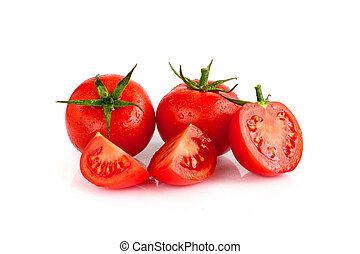 Tomatoes on the white isolated background