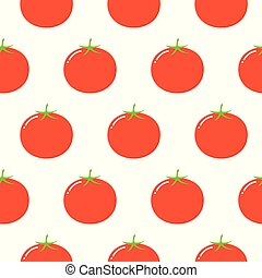 Tomatoes seamless pattern in flat style on a white background