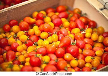 Tomatoes selling in a market
