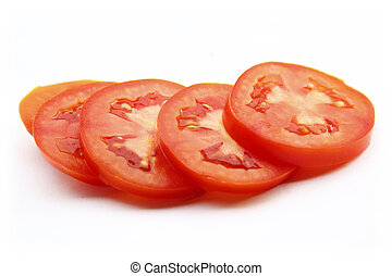 Tomatoes sliced on isolated on white background
