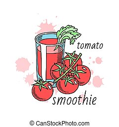 Tomatoes smoothie made of organic vegetables banner vector illustration. Healthy food. Glass of organic drink with salad. Natural products. Elements for menu, bar advertisement.