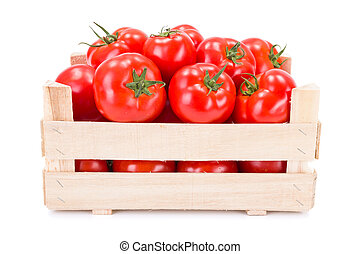 Tomatoes (Solanum lycopersicum) in wooden crate