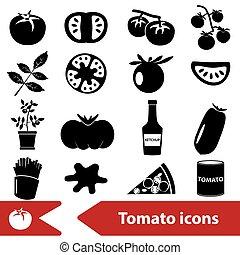 tomatoes theme black simple icons set eps10