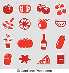 tomatoes theme red simple stickers set eps10