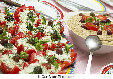 Tomatoes with cheese and eggplant salad