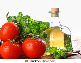 Tomatoes with fresh basil and olive oil