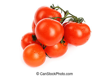 Tomatoes with water drops on white background
