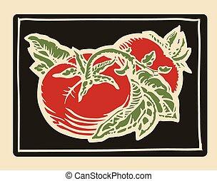 Tomatoes woodcut