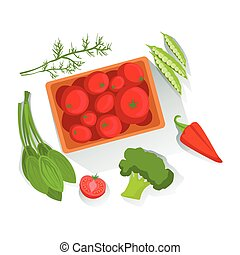 Tomatos, Broccoli, Spinach Fresh Organic Vegetables Illustration With Farm Grown Eco Products