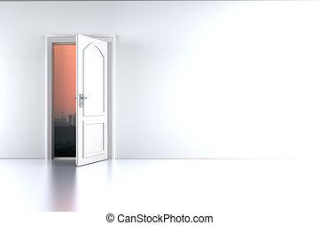 tombée nuit, porte