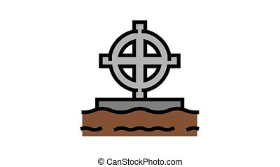 tomb cross animated color icon. tomb cross sign. isolated on white background
