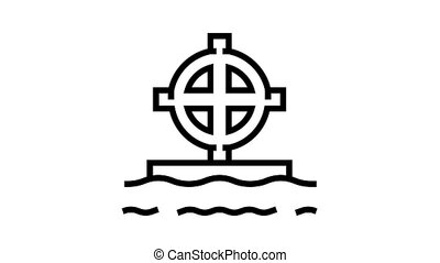 tomb cross animated black icon. tomb cross sign. isolated on white background
