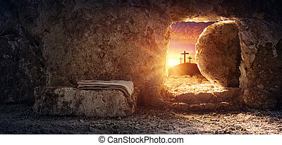 Tomb Empty With Shroud And Crucifixion At Sunrise Resurrection Of Jesus Christ