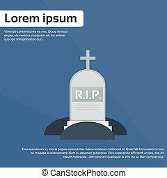 Tomb Grave Icon RIP Stone Flat Vector