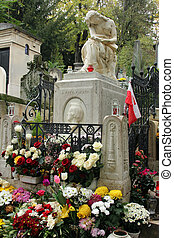 Tomb of Frederic Chopin, famous Polish composer, at Pere Lachaise cemetery in Paris