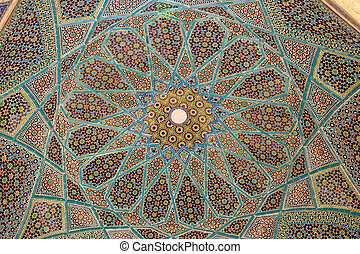 Tomb of Hafez ceiling - Ceiling decoration of the tomb of...
