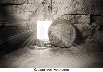 Tomb of Jesus. Jesus Christ Resurrection. Easter background. Christian easter concept.