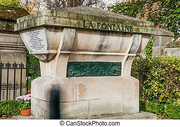 Tomb of La Fontaine in Pere Lachaise Cemetery
