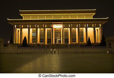 Tomb of Mao Tse Tung Tiananmen Square Beijing China Night -...