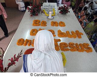 Tomb of Mother Teresa in Kolkata, West Bengal, India
