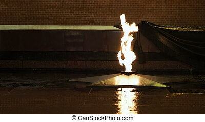 Tomb of the Unknown Soldier and Eternal Flame in the Alexander Garden near Kremlin. Moscow, Russia.