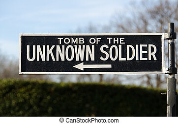 Arlington Cemetary - Tomb of the Unknown Soldier Sign at...
