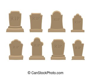 Tomb set. Ancient RIP. Collection of gravestones. Grave stone on white background