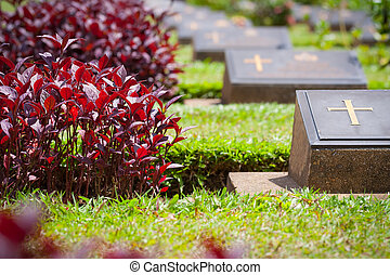 Tomb. - Landscape within the cemetery in Kanchanaburi...