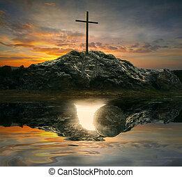 tombe, croix, vide