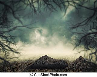 tombe, dans, les, forêt