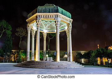 tombe, de, poète, hafez, dans, shiraz, iran., hafez, lived,...