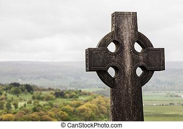 tombe, pierre, sur, a, cimetière