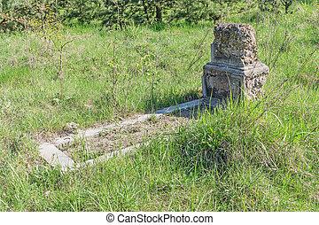 tombe, sur, vieux, cimetière