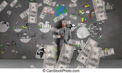 tomber, animation, factures, homme, sur, dollar, utilisation...