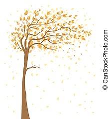 tomber, arbre, feuilles
