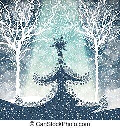 tomber, arbre, neige, joyeux noël