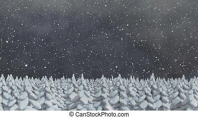 tomber, arbres, neige, sapin