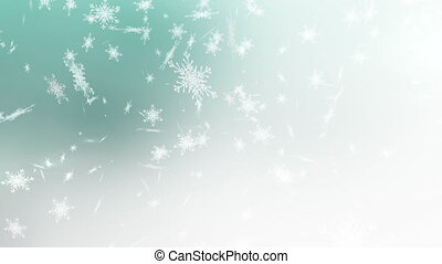 tomber, arrière-plan vert, neige