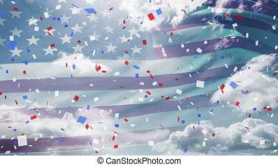 tomber, bleu, drapeau, ciel, confetti, nous, sur, contre, coloré