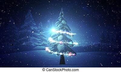 tomber, composition, vidéo, neige, lumières, noël, arbre hiver, scène