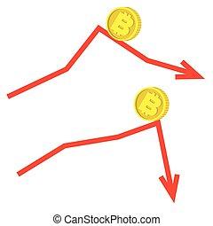 tomber, concept, bitcoin
